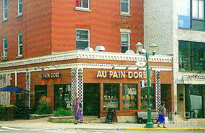 Boulangerie Au Pain Dore Corner Store Paintings French Bakery Shops  Montreal Depanneur Art Cspandau Poster