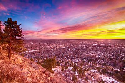 Boulder Colorado Colorful Sunrise City View Poster