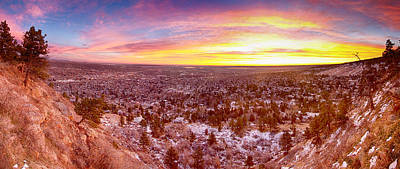Boulder Colorado Colorful Sunrise Wide Panorama View Poster