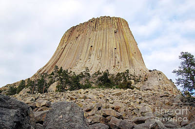 Poster featuring the photograph Boulder Field Beneath Devils Tower National Monument Wyoming Usa by Shawn O'Brien