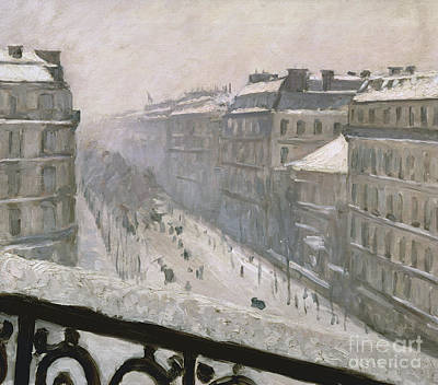 Boulevard Haussmann In The Snow Poster by Gustave Caillebotte