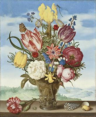 Bouquet Of Flowers On A Ledge Poster by Ambrosius Bosschaert the Elder