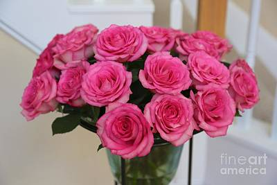 Bouquet Of Pink Roses Poster by Carol Groenen