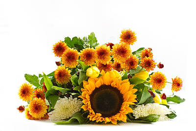 Bouquet Orange Chrysanthemum Poster by Boon Mee