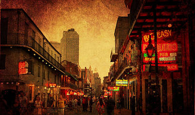 Poster featuring the photograph Bourbon Street Grunge by Judy Hall-Folde