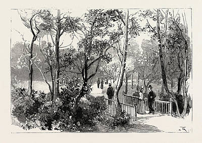 Bournemouth, View In Public Gardens, Engraving 1890, Uk Poster