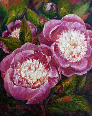 Bowl Of Beauty Peony Poster by Karen Mattson