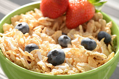 Bowl Of Cereal With Blueberries And Strawberries Poster