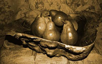 Poster featuring the photograph Bowl Of Pears - Sepia by Amanda Holmes Tzafrir