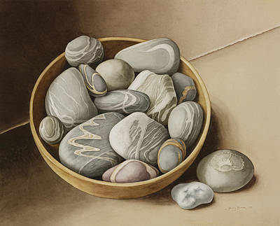 Bowl Of Pebbles Poster by Jenny Barron