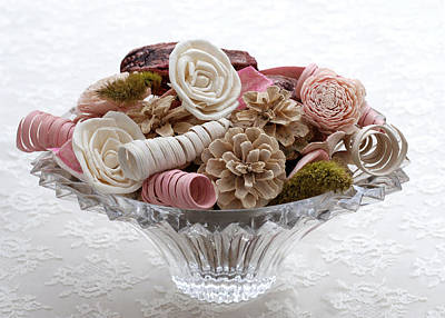 Bowl Of Potpourri On Lace Poster by Connie Fox