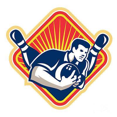Bowler Pose Bowling Ball Pins Retro Poster by Aloysius Patrimonio