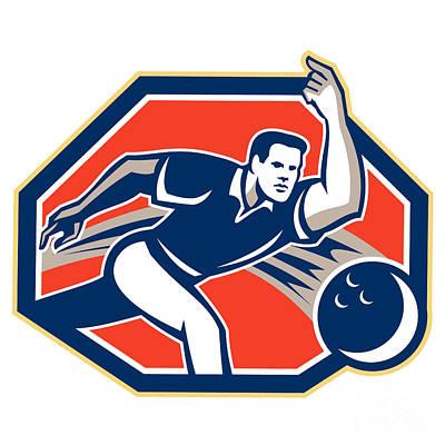 Bowler Throw Bowling Ball Retro Poster by Aloysius Patrimonio