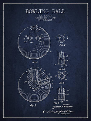 Bowling Ball Patent Drawing From 1949 Poster