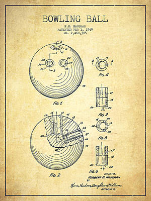 Bowling Ball Patent Drawing From 1949 - Vintage Poster