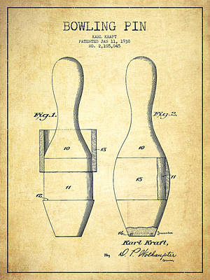 Bowling Pin Patent Drawing From 1938 - Vintage Poster by Aged Pixel