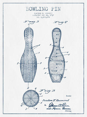 Bowling Pin Patent Drawing From 1939 - Blue Ink Poster