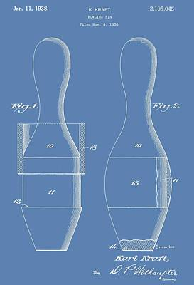 Bowling Pins Patent On Blue Poster by Dan Sproul