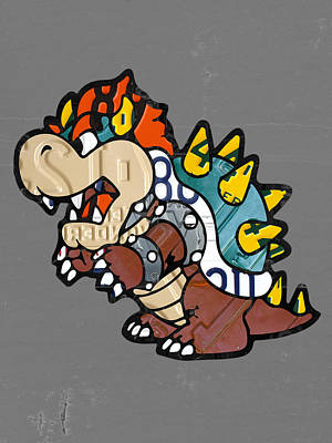 Bowser From Mario Brothers Nintendo Original Vintage Recycled License Plate Art Portrait Poster
