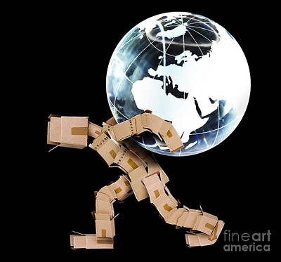 Box Man Carrying A Globe Poster by Simon Bratt Photography LRPS