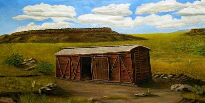 Poster featuring the painting Boxcar On The Plains by Sheri Keith