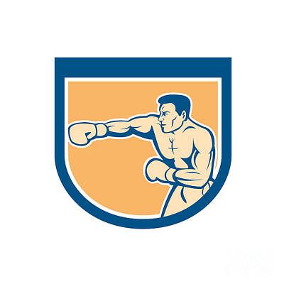 Boxer Boxing Punching Shield Cartoon Poster