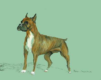Poster featuring the pastel Boxer by Terry Frederick