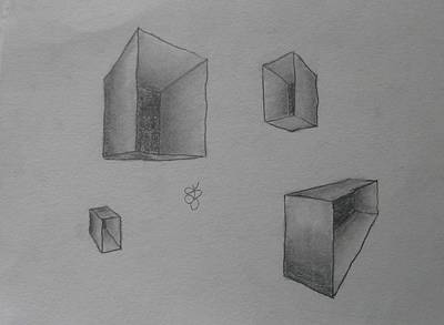 Poster featuring the drawing Boxes by AJ Brown