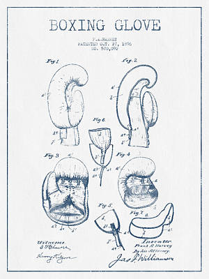 Boxing Glove Patent Drawing From 1896  -  Blue Ink Poster by Aged Pixel