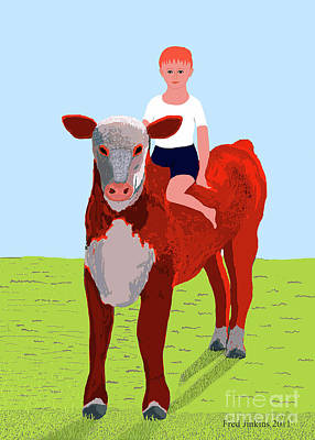 Boy And Calf Poster