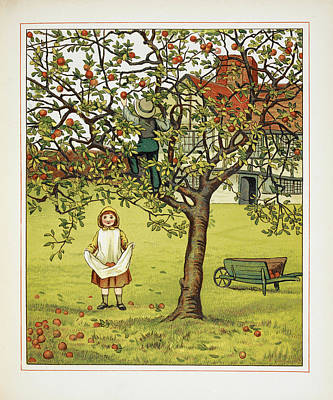 Boy And Girl Picking Apples Poster by British Library