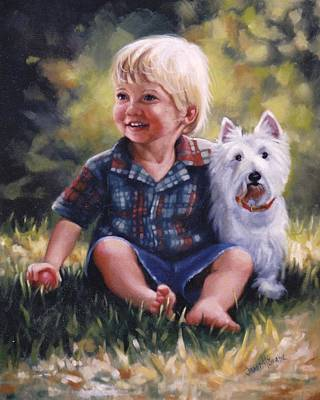 Boy And His Dog Poster by Janet McGrath