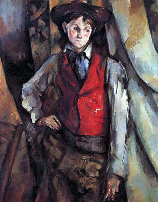 Boy In Red Waistcoat By Cezanne Poster