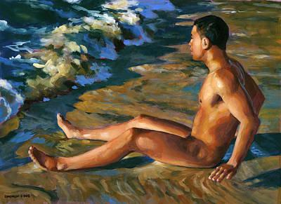 Boy In Shorebreak Poster by Douglas Simonson