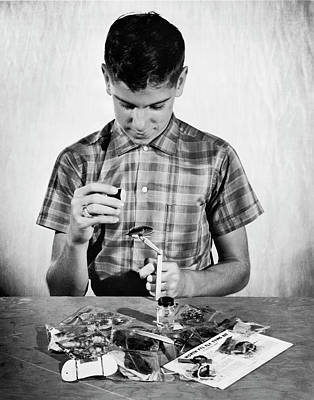 Boy Learning To Tie Flies Poster