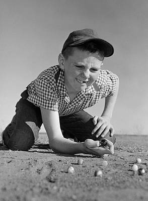 Boy Shooting Marbles, C.1950-60s Poster