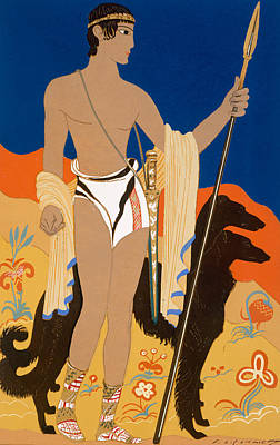 Boy Warrior With Two Borzoi Hounds Poster by Francois-Louis Schmied