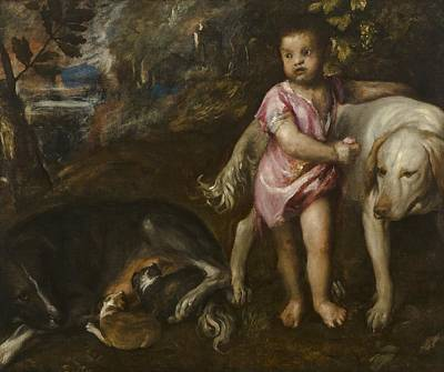 Boy With Dogs In A Landscape Poster