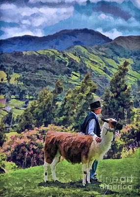 Boy With Llama  Poster