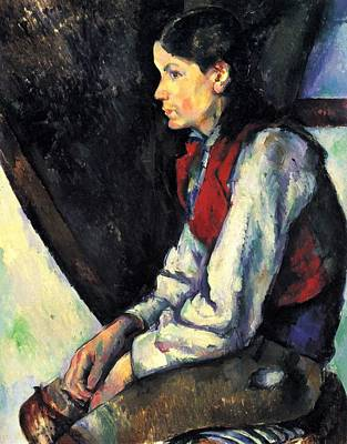 Boy With Red Vest By Cezanne Poster
