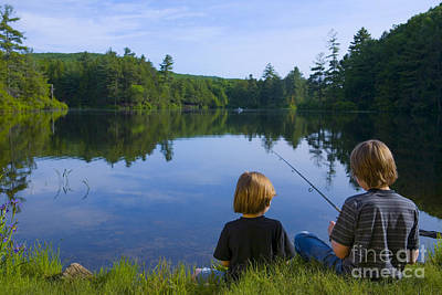 Boys Fishing Poster by Diane Diederich