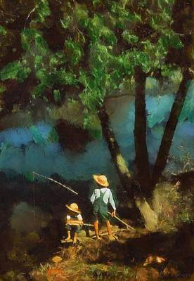 Poster featuring the digital art Boys Fishing In A Bayou by Kai Saarto