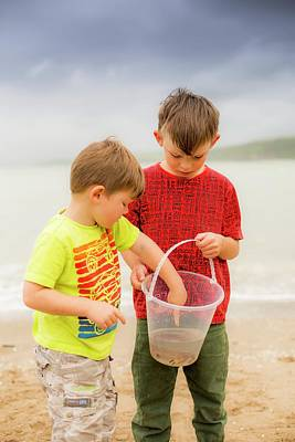 Boys Holding Crab Poster