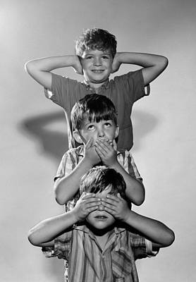 Boys Mime 3 Wise Monkeys, C.1960s Poster by D. Corson/ClassicStock