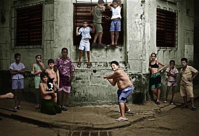 Boys Playing Stickball Poster
