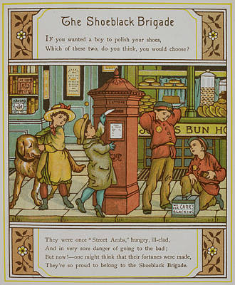 Boys Shining Shoes For Money Poster by British Library