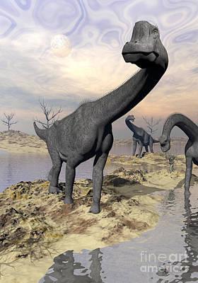 Brachiosaurus Dinosaurs Near Water Poster