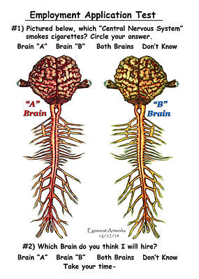 Brain Compared With Smoking Brain Poster