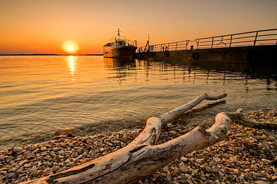 Branch Barge And Sunset Poster by Davorin Mance