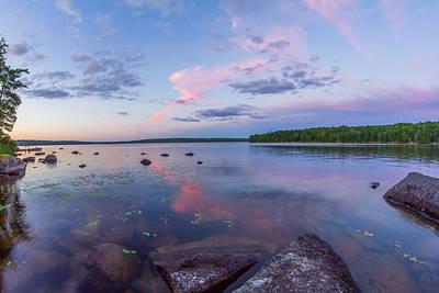 Branch Lake Mirror Sunset Poster